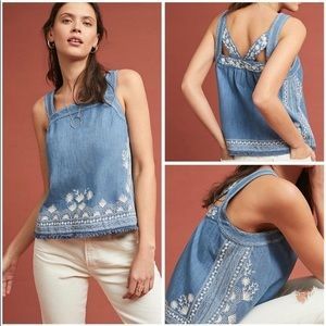 BNWOT MEADOW RUE 💙Anthro Denim Embroidered Blouse